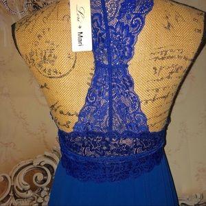 Lori + Mari Dresses - Royal Blue & Lace Flawless Flow Maxi